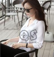 2014 new fashion women autumn chiffon long sleeve blouse & shirts lady turn down collar tops Q1011