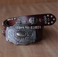 Men and Women Black/White/Brown/Orange rivet cowhide belt,2014 designs Carving alloy buckle Vintage belt