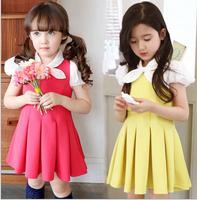 Wholesale - new summer 2014 Girls' college wind hubble-bubble sleeve waist children dress