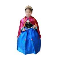Frozen Children High-collar Wear Long-Sleeved Dress With Cloak Girl Skirt Turtle Neck Show Dress Organza European Palace Costume