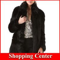 Freeshipping 2014 women Fashion Autumn Winter Mandarin collar Long Imitation fur Thick Warm Faux Fur Long trench Coat Outerwear