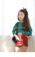 2014Newest Green 100% cotton Autumn&Winter irregular Tees legging Girl Tops long sleeve Clothes