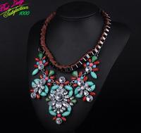 2014 New Arrival Fashion Brand Shourouk Statement Crystal Necklace Retro Bohemian Vintage Fashion Long Gem Necklace 9271