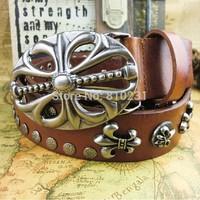 Hollow out alloy buckle Pure Cowhide Belt+ Punk Metal Decoration 2014 fashion Vintage belt for men and women's brand belt