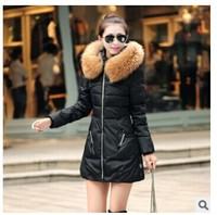 New 2014 Jacket Winter Coat Thicken Slim Female Raccoon Fur Collar And Long Coat Women Parka Winter Coat Plus Size