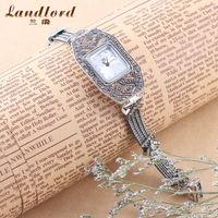 2014 New Fashion Women's Wrist Watch Bracelet Luxury Brand 925 Thai Silver Watches Quartz Watch Relogio Free Shipping 0024S