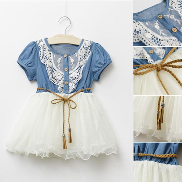 Baby Kids Girl Short Sleeve Denim Lace Dresses Tops White Guaze Children Tutu Dress Sundress 1-6Y Freeshipping(China (Mainland))