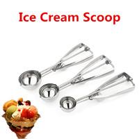 3 Size Stainless Steel Ice Cream Scoop Mash Potato Cookie Spoon 4/5/6cm