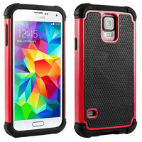 Dual Layer Shock Proof Impact Silicone Hybrid Hard Defender Case Cover For Galaxy S5 i9600 Cases + Screen Protector Stylus