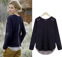 Free shipping 2014 New European design women long sleeves T-shirt asymmetrical patchwork women fashion sweaters XXXXL tops