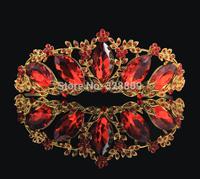 Gorgeous red crystal bridal tiaras wholesale rhinestone wedding crown hair wear jewelry