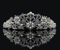 pearl crystal bridal tiaras wholesale rhinestone wedding crown hair wear jewelry wedding hair accessories