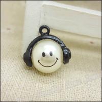 35 pcs high quality alloy accessories Black Smile  pearl  earphones short design necklace diy handmade