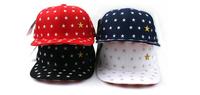 Star pattern flat brimmed hat embroidered stars  Female hip-hop hip-hop hat