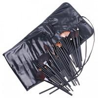 New 32pcs Professional Makeup Brush Set Cosmetic Set Kit Black PU Leather Case Free Shipping Z62