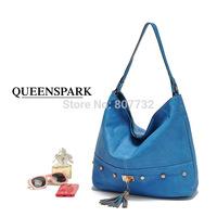 High Quality Fashion Brand Women Shoulder Bag With Tassel Blue 40*17*30cm PU