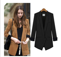 Plus size coats new 2014 spring jackets thin outerwear fashion long suits women coat  jackets black jackets free shipping