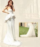Free shipping mermaid wedding dresses lace+ crystal