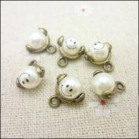 45 pcs high quality alloy accessories Antique Bronze Smile  pearl  earphones short design necklace diy handmade