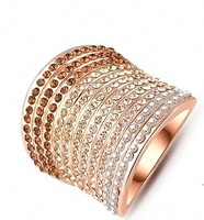 Elegant Crystal   Ring 18K Gold Plated Made with Genuine Austrian Crystals Full Sizes Wholesale