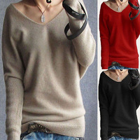 2014 New Autumn Winter Women Casual Cashmere Sweater Fashion Knitted V Neck Batwing Sleeve Pullover Sweaters Plus Size