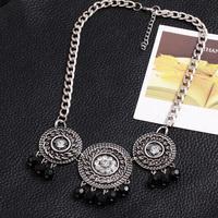 New European Vintage Sliver Rhinestone Flower Metal Weaver Beads Statement Choker Necklace Jewelry For Women Gift CS14