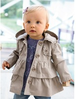 2014 New baby Girl warm autumn jackets Toddler Kids Girl Princess long hooded coat kids dress coat wholesale