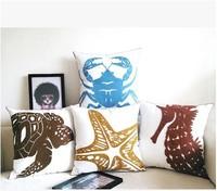 Marine series cotton handmade embroidery creative high-grade sofa pillow cover cushion cover