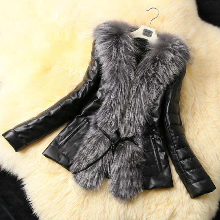 2014 New Fashion winter women coat Long Sleeve fur coats Fox Fur Collar Long Coat lady Faux Fur Slim leather jacket with belt(China (Mainland))