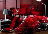 Reactive printed bed set 3d bedding set linen cotton queen king size/bedclothes duvet cover pillowcase rose coverlet 800TC