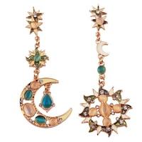 Brand Earrings Style ! Statement Drops Stars Gemstone  Bohemian Sun Moon Earrings Jewelry For Women  Wholesale  brincos grandes