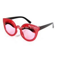 2014 Brand New Kids Glasses Children Accessories Boys girls Eyelash Retro Round Sunglasses Baby fashion  Cartoon Sunglasses
