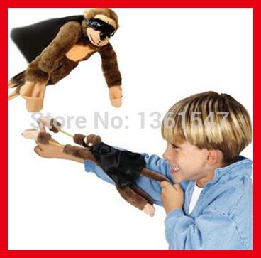 100pcs/lot Free Shipping Christmas Halloween Wholesale Kids Educational Plush Toys Children Screaming Slingshot Flying Monkey(China (Mainland))