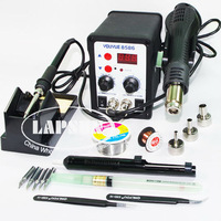 220V YOUYUE 8586 2 in 1 SMD Rework Station Hot Air Gun + Solder Iron Set + Solder Wire Reel + Braid Solder Remover + Cupper Wire