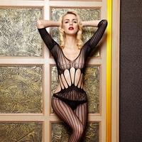 Hot Sale Grid Translucent Black Sexy Body Stocking