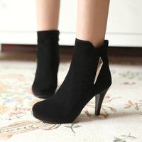 European 2014 Shoes Woman Ankle Boots Heels Platform Winter Boots High Heels Fashion Women Shoes 34-39 Black