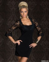 Free Shipping One Piece High Quality Winter Lace Sleeve Slim Dress New Style Women Black Bodycon Dress