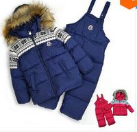 Children winter clothing set boy girl's Ski suit sport sets windproof 100% cotton warm coats suit set Brand Fur Jackets trousers