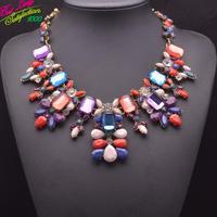 2014 Colorful New Arrival za Brand Big Box Gem  Pendant Necklace Women Accessories Clain Necklace For Women  9279