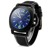 Kingsky Waterproof Quartz Watch Round Dial Leather Band Male Watch Arabic Numerals Hour Marks Men Wristwatches