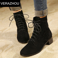 2014 New Suede Genuine Ankle boots heels Autumn Shoes woman Platform Full grain leather boots Winter Brand Fashion Fashion