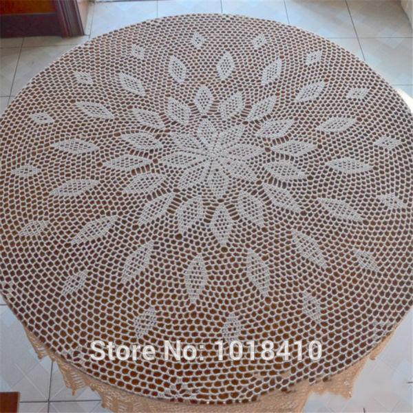 "160cm(63"") Round Garden hand crochet tablecloth cotton hollow circular table cloth white / Cream(China (Mainland))"
