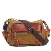 4 colors couple bags for travel small shoulder bags man messenger bag women canvas genuine leather casual vintage MC011936