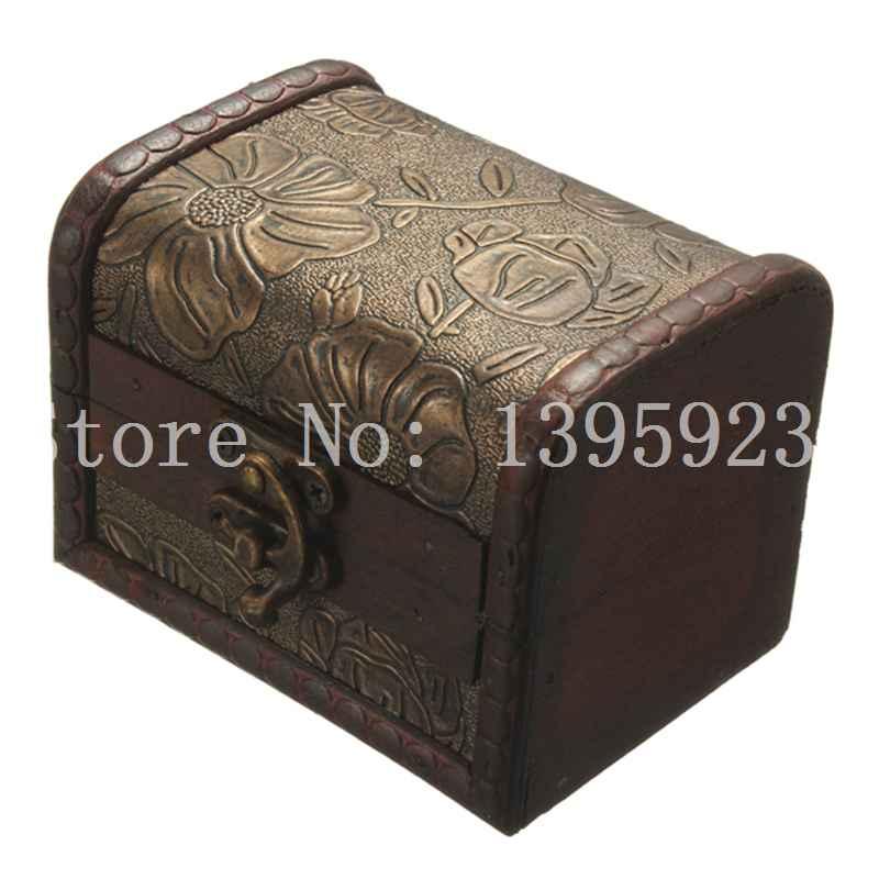 Antique Vintage Flower Print Wooden Metal Lock Sorage Retro Jewelry Box Wood Organizer Case Boxes Free Shipping(China (Mainland))