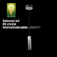 Pendant Light K9 Crystal Mirror stainless steel International cable Hanging Single Head Long Rentangle design lamp Samsung LED