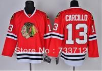 Free Shipping Cheap Chicago Blackhawks Hockey Jerseys#13 Dan Carcillo Jersey Wholesale Embroidery Logos Mix Order