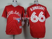 Wholesale baseball blue jays #66 Munenori Kawasaki red jerseys, please read size chart before order