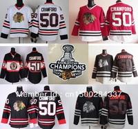 Free ship 2013 Stanley Cup champions Patch Chicago Blackhawks #50 Corey Crawford Hockey Jersey red white black M L XL XXL XXXL