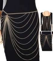 NEW ARRIVALS! FASHION STYLE BE02 WOMEN BEAUTIFUL BELT CHAINS  NINE LAYERS BELT CHAINS BODY JEWELRY 3 COLORS