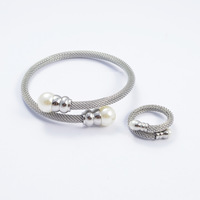 Vintage Silver 316l Stainless Steel Pearl Bracelet+Ring Women Punk Cable Chain African Jewelry Sets